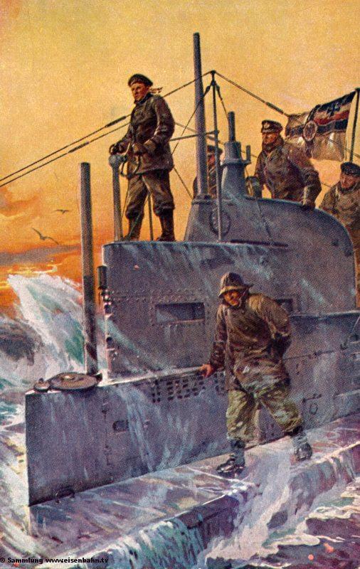 Marine Marinemalerei Willy Stöwer U-Boot Spende 1917 Auf dem Kommandoturm eines U-Boots